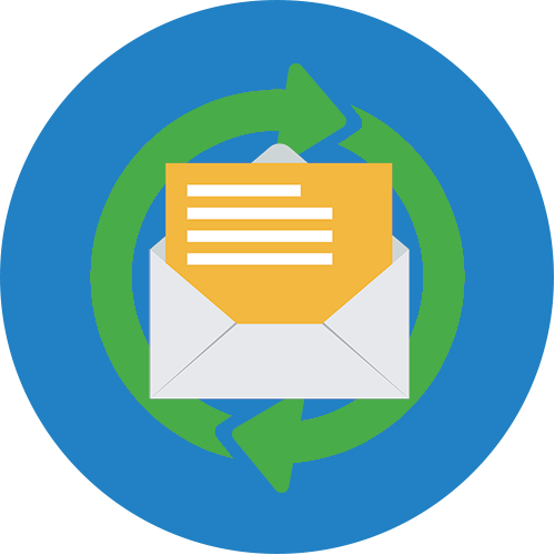 Email Continuity icon with open email symbol