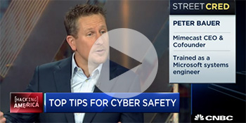 Video still of Mimecast CEO Peter Bauer appearing on CNBC
